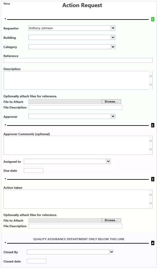 Action request sample form