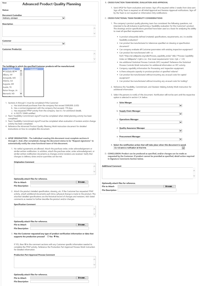 Advance product quality planning sample form
